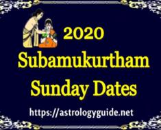 2020 Subamukurtham Sunday Dates