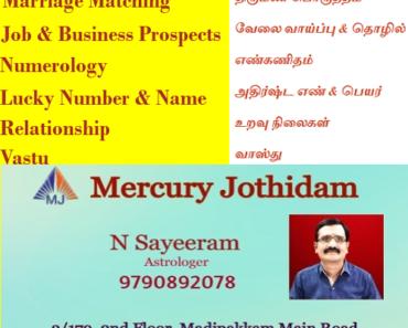 Sendhuran Colony Madipakkam Best Astrologer Numerologist Vastu Consultant Sayeeram Astrologer