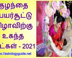 குழந்தை பெயர்சூட்டு விழாவிற்கு உகந்த நாட்கள் - 2021