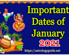 Important Dates of January 2021