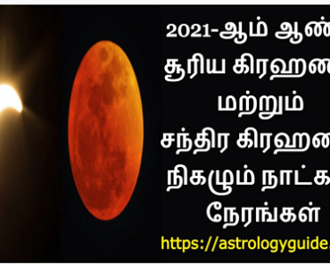 2021-ஆம் ஆண்டு கிரஹணம் நிகழும் நாட்கள், நேரங்கள் - Eclipse in 2021
